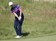 United States' Jordan Spieth chips onto the 2nd green during the final round of the British Open Golf Championship at Royal St George's golf course Sandwich, England, Sunday, July 18, 2021. (AP Photo/Peter Morrison)