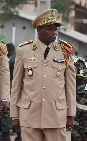 In this Oct. 2, 2012 photo, Guinea's Army Chief of Staff Gen. Souleymane Kelefa Diallo participates in Independence Day celebrations, in Conakry, Guinea. Officials said Monday, Feb. 11, 2013, that Guinea's army chief of staff and other top military officers were among the eleven dead whose bodies were pulled from the wreckage of a military plane that crashed in Liberia. The military officers were on their way to attend Liberia's Armed Forces Day celebrations. (AP Photo)