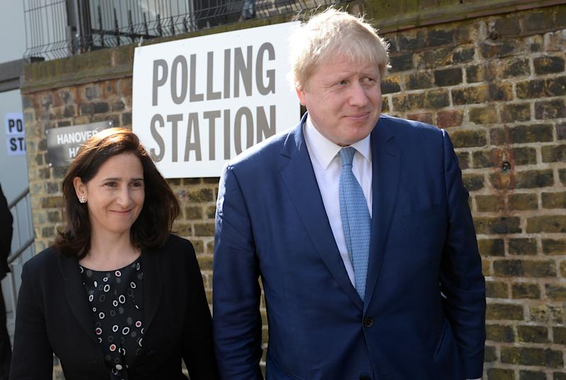 Mayor of London Boris Johnson and wife Marina leave after casting their votes at a polling station in Islington, north London. PRESS ASSOCIATION Photo. Picture date: Thursday May 5, 2016. Londoners are choosing a new mayor and members of the London Assembly. See PA story POLITICS Elections. Photo credit should read: Stefan Rousseau/PA Wire