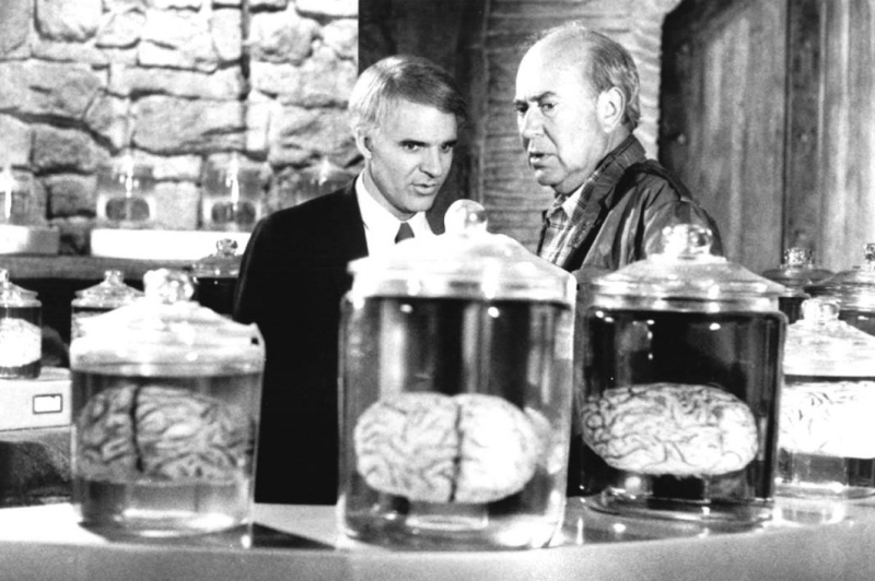 Steve Martin and Carl Reiner on the set of <i>The Man With Two Brains.</i>