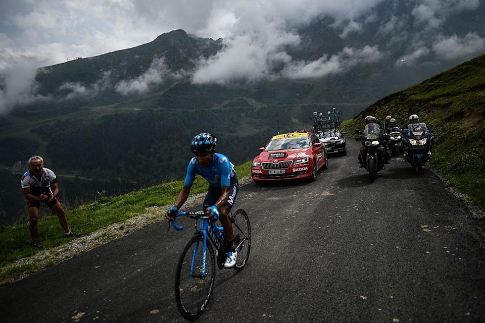 Nairo Quintana (Movistar) on his way to winning stage 17 at the Tour de France