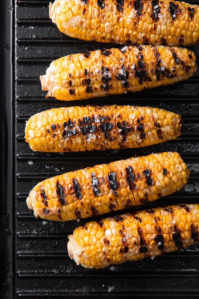 "<p>Rule #1: Don't overcomplicate it. </p><p>Get the recipe from <a rel=""nofollow"" href=""https://www.delish.com/cooking/recipe-ideas/a19637515/best-grilled-corn-on-the-cob-recipe/"">Delish</a>.</p><p><a rel=""nofollow"" href=""https://www.amazon.com/Creuset-LS2021-2667-Signature-Square-Skillet/dp/B009ZML3SW?tag=delish_auto-append-20&ascsubtag=[artid