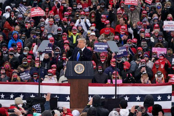 PHOTO: President Donald Trump speaks during a campaign rally, Oct. 27, 2020, in Lansing, Mich. (Carlos Osorio/AP)