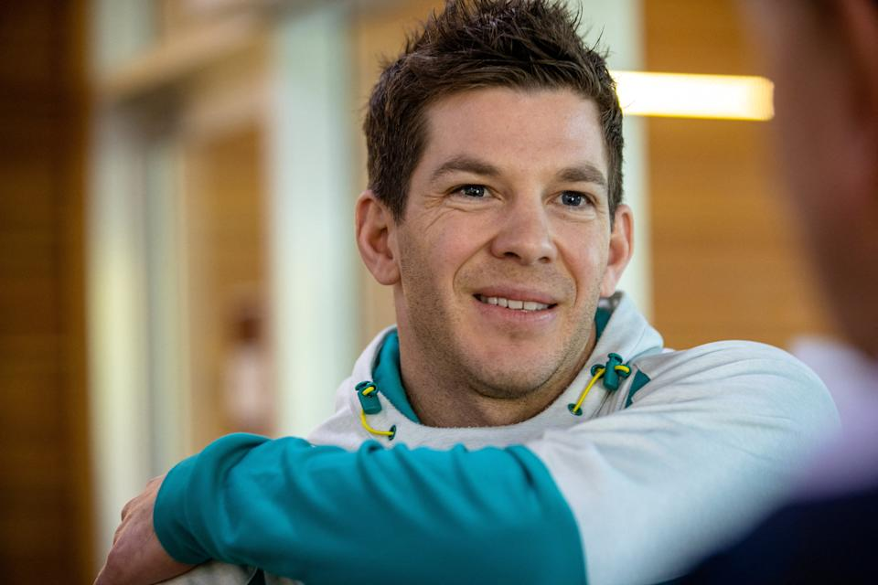 Seen here, Australia test cricket captain Tim Paine speaking to media about the upcoming Ashes series against England.