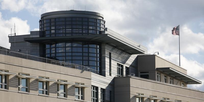 Antennas and suspected covered windows are pictured on the roof of the U.S. embassy in Berlin