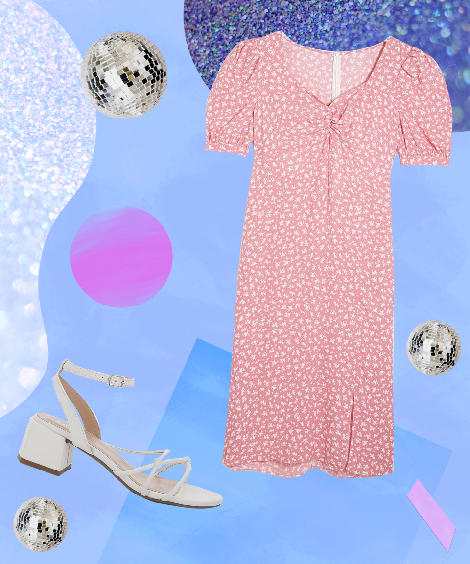 """<strong>Alfresco Drinks On City Streets</strong><br><br>You can't go wrong with a pastel midi dress and white sandals. It should almost be considered a uniform at this point; the simple yet super cute look with a hint of cottagecore.<br><br>This pink dress knocks it out of the park, featuring a multitude of on-trend accents that make it the perfect piece if you're looking for an outfit that screams romance. <br><br>Details include puffball sleeves, sweetheart neckline and a fitted, ruched bodice that nips in at the waist to create an A-line silhouette. We've teamed the dress with a pair of white strappy sandals with a block heel for navigating those cobbled streets and hidden-gem bars. <br><br><strong>Nobody's Child</strong> Nobody's Child Rosie Puff Sleeve Midi Dress, $, available at <a href=""""https://www.simplybe.co.uk/shop/nobodys-child-rosie-puff-sleeve-midi-dress/vl668/product/details/show.action?pdBoUid=4014"""" rel=""""nofollow noopener"""" target=""""_blank"""" data-ylk=""""slk:Simply Be"""" class=""""link rapid-noclick-resp"""">Simply Be</a><br><br><strong>Simply Be</strong> Tennessee Knotted Strappy Block Heel Sandals Wide Fit, $, available at <a href=""""https://www.simplybe.co.uk/shop/tennessee-knotted-strappy-block-heel-sandals-wide-fit/sb287/product/details/show.action?pdBoUid=4014"""" rel=""""nofollow noopener"""" target=""""_blank"""" data-ylk=""""slk:Simply Be"""" class=""""link rapid-noclick-resp"""">Simply Be</a>"""