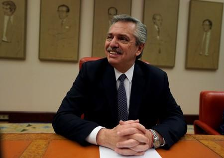 Argentinian presidential candidate Alberto Fernandez prepares to give a speech at the Parliament in Madrid