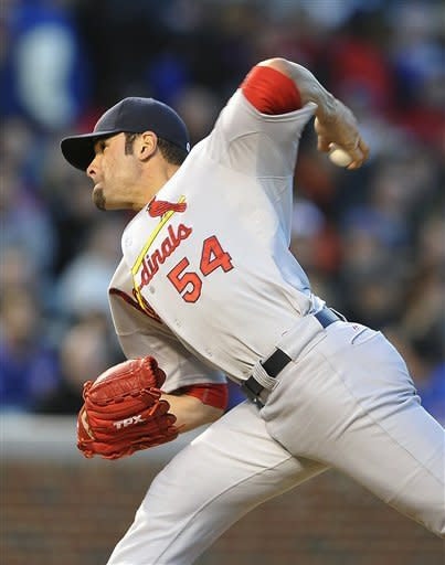 St. Louis Cardinals' Jaime Garcia pitches against the Chicago Cubs during the first inning of a baseball game Monday, April 23, 2012, in Chicago. (AP Photo/Jim Prisching)