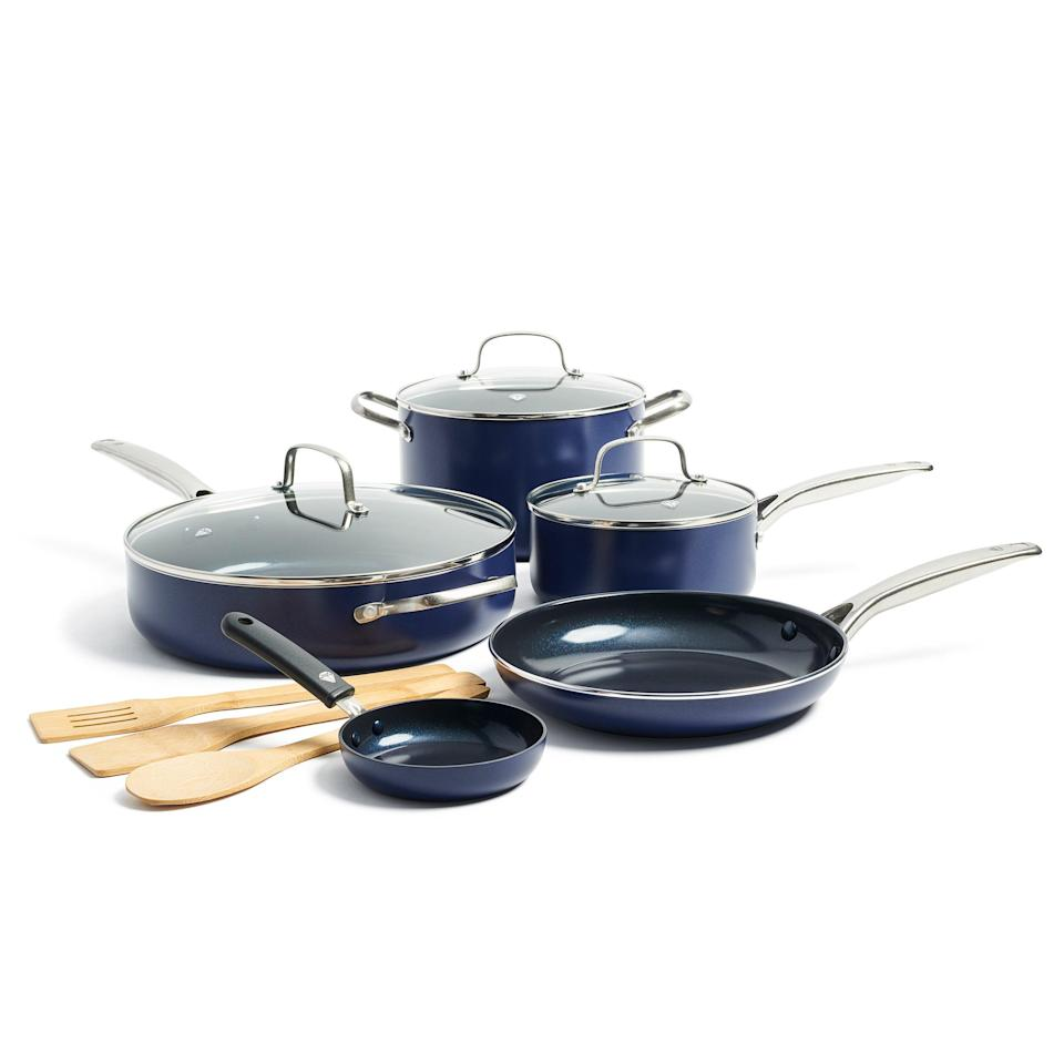 """<br><br><strong>Blue Diamond</strong> Limited Edition Nonstick Ceramic 11-Piece Cookware, $, available at <a href=""""https://go.skimresources.com/?id=30283X879131&url=https%3A%2F%2Ffave.co%2F39obgSe"""" rel=""""nofollow noopener"""" target=""""_blank"""" data-ylk=""""slk:Walmart"""" class=""""link rapid-noclick-resp"""">Walmart</a>"""