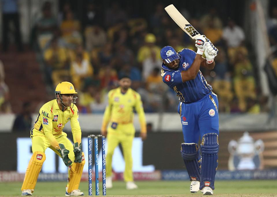 HYDERABAD, INDIA - MAY 12: Kieron Pollard of the Mumbai Indians bats during the Indian Premier League Final match between the the Mumbai Indians and Chennai Super Kings at Rajiv Gandhi International Cricket Stadium on May 12, 2019 in Hyderabad, India. (Photo by Robert Cianflone/Getty Images)
