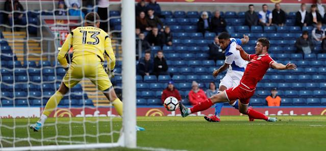 Soccer Football - FA Cup Second Round - Blackburn Rovers vs Crewe Alexandra - Ewood Park, Blackburn, Britain - December 3, 2017 Dominic Samuel scores Blackburn's first goal Action Images/Carl Recine