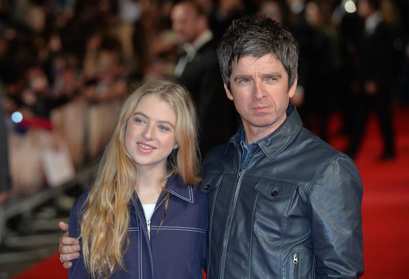 """LONDON, ENGLAND - OCTOBER 28: Noel Gallagher with his daughter Anais attend the """"Burnt"""" European premiere at the Vue West End on October 28, 2015 in London, England. (Photo by Anthony Harvey/Getty Images)"""