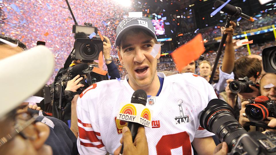Mandatory Credit: Photo by Tannen Maury/EPA/Shutterstock (7664098cv)New York Giants Quarterback Eli Manning is Interviewed on the Field After the New York Giants Defeated the New England Patriots 21-17 to Win Super Bowl Xlvi at Lucas Oil Stadium in Indianapolis Indiana Usa 05 February 2012 the Super Bowl is Annual Championship of the National Football League United States IndianapolisUsa American Football Super Bowl Xlvi - Feb 2012.