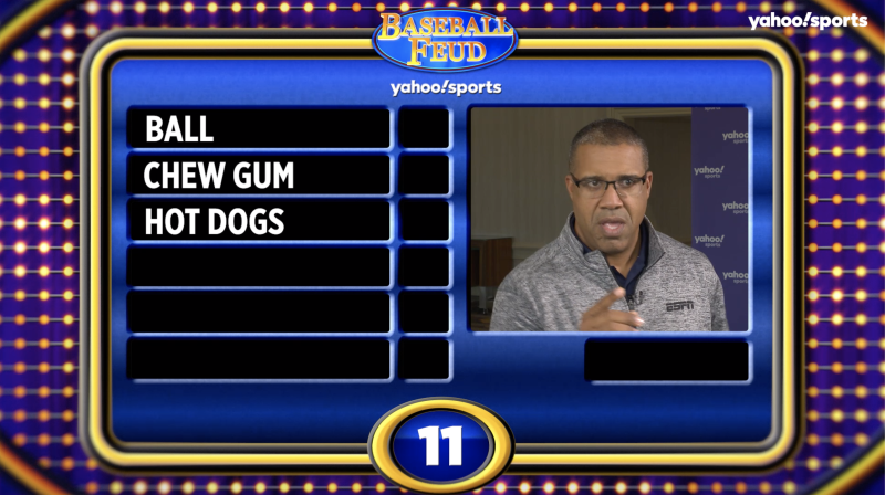 "Eduardo Perez trying to defend ESPN's title on ""Baseball Feud."""