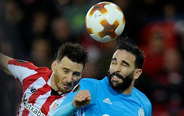 Soccer Football - Europa League Round of 16 Second Leg - Athletic Bilbao vs Olympique de Marseille - San Mames, Bilbao, Spain - March 15, 2018 Marseille's Adil Rami in action with Athletic Bilbao's Aritz Aduriz REUTERS/Vincent West