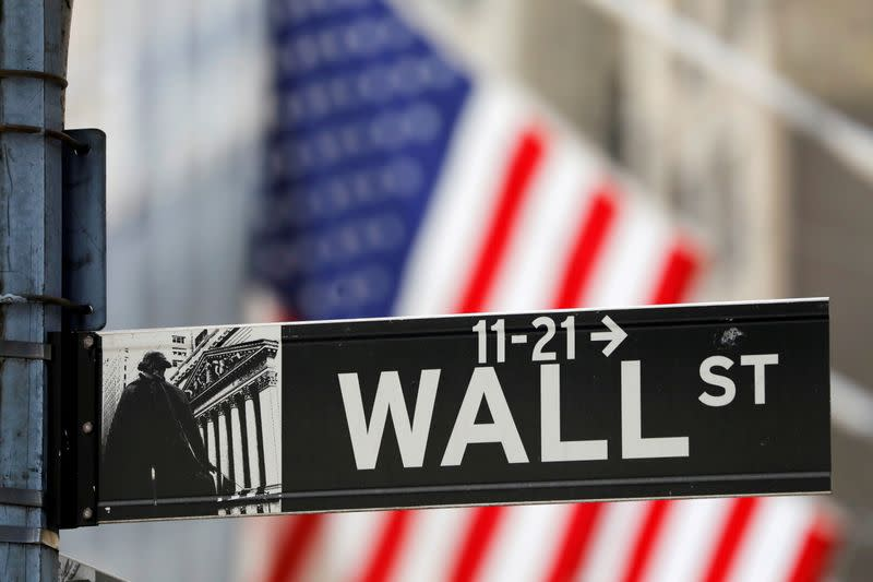 FILE PHOTO: A street sign for Wall Street is seen outside the New York Stock Exchange (NYSE) in New York City