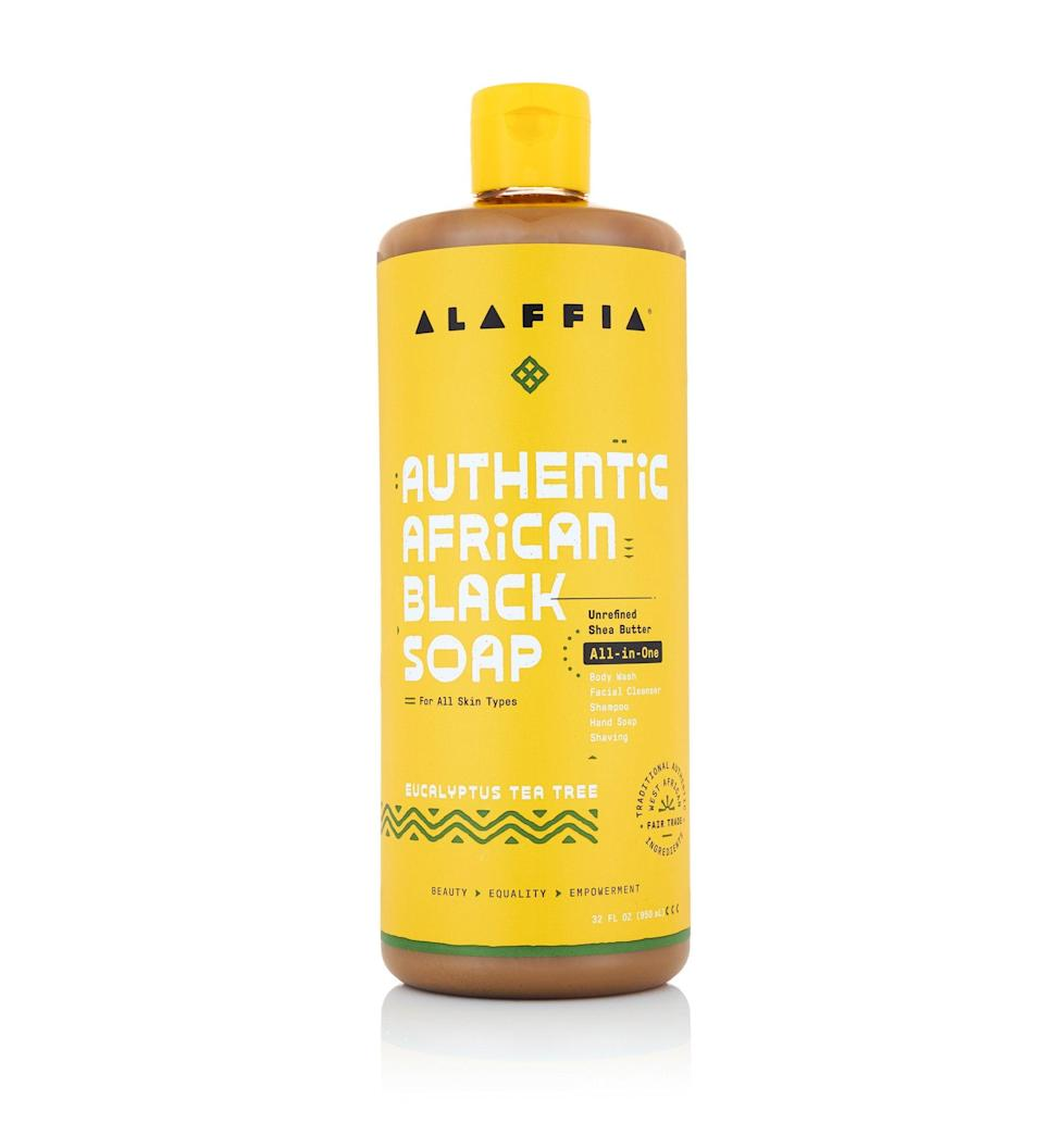 "<h2>Alaffia</h2><br>Clean, green, and fair trade beauty company, Alaffia, empowers African communities through its sustainable products and many philanthropies. The brand is both <a href=""https://www.fairforlife.org/pmws/indexDOM.php?client_id=fairforlife&page_id=home"" rel=""nofollow noopener"" target=""_blank"" data-ylk=""slk:F"" class=""link rapid-noclick-resp"">F</a><a href=""https://www.fairforlife.org/pmws/indexDOM.php?client_id=fairforlife&page_id=home"" rel=""nofollow noopener"" target=""_blank"" data-ylk=""slk:or Life and Fair For Life"" class=""link rapid-noclick-resp"">or Life and Fair For Life</a><a href=""https://www.fairforlife.org/pmws/indexDOM.php?client_id=fairforlife&page_id=home"" rel=""nofollow noopener"" target=""_blank"" data-ylk=""slk:certified"" class=""link rapid-noclick-resp""> certified</a> which attests to the company's commitment to ethical practices. <br><br><em>Shop</em> <strong><em><a href=""http://alaffia.com"" rel=""nofollow noopener"" target=""_blank"" data-ylk=""slk:Alaffia"" class=""link rapid-noclick-resp"">Alaffia</a></em></strong><br><br><strong>Alaffia</strong> Authentic African Black Soap All-In-One, $, available at <a href=""https://go.skimresources.com/?id=30283X879131&url=https%3A%2F%2Fwww.alaffia.com%2Fproducts%2Fauthentic-african-black-soap-eucalyptus-tea-tree-32oz"" rel=""nofollow noopener"" target=""_blank"" data-ylk=""slk:Alaffia"" class=""link rapid-noclick-resp"">Alaffia</a>"