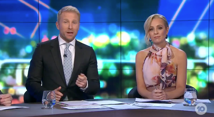 Hamish Macdonald and Carrie Bickmore on The Project on Tuesday night. Carrie Bickmore is in a $549 Carla Zampatti blouse