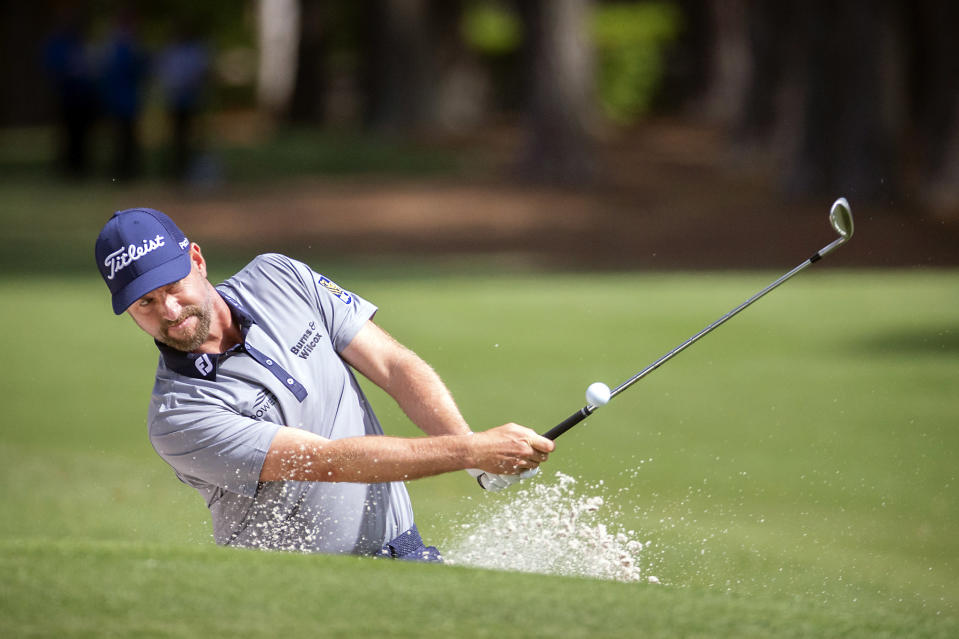 Webb Simpson hits out of the bunker to the second green during the third round of the RBC Heritage golf tournament in Hilton Head Island, S.C., Saturday, April 17, 2021. (AP Photo/Stephen B. Morton)