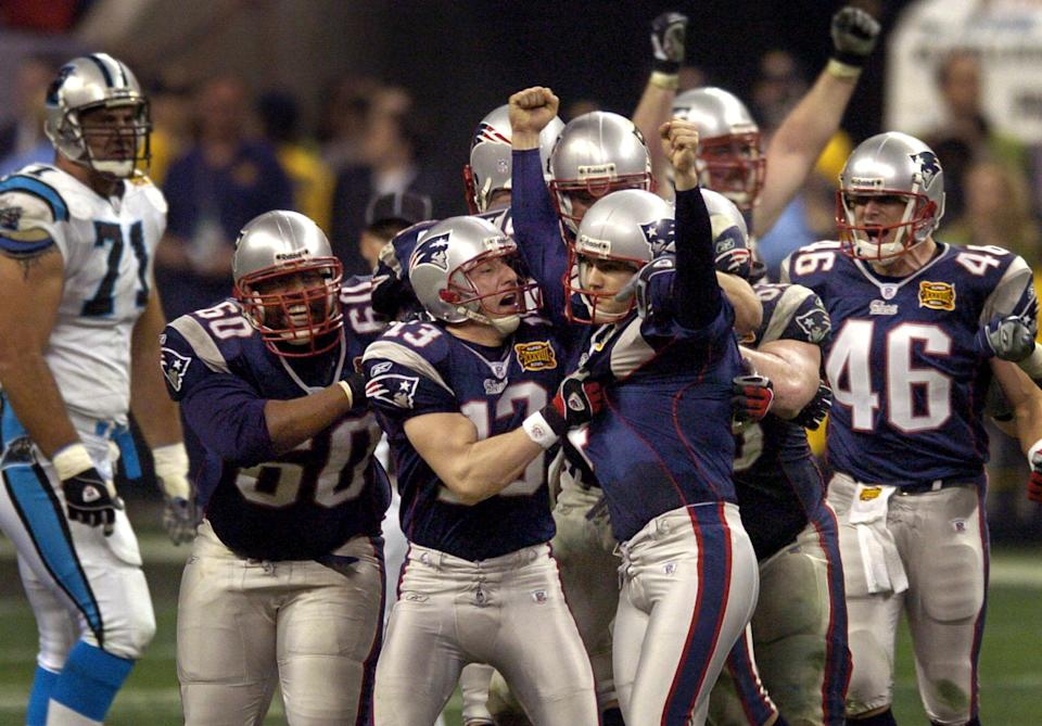 Adam Vinatieri has hit not one, but two Super Bowl-winning field goals, the second coming in Super Bowl XXXVIII against the Carolina Panthers. (AP)