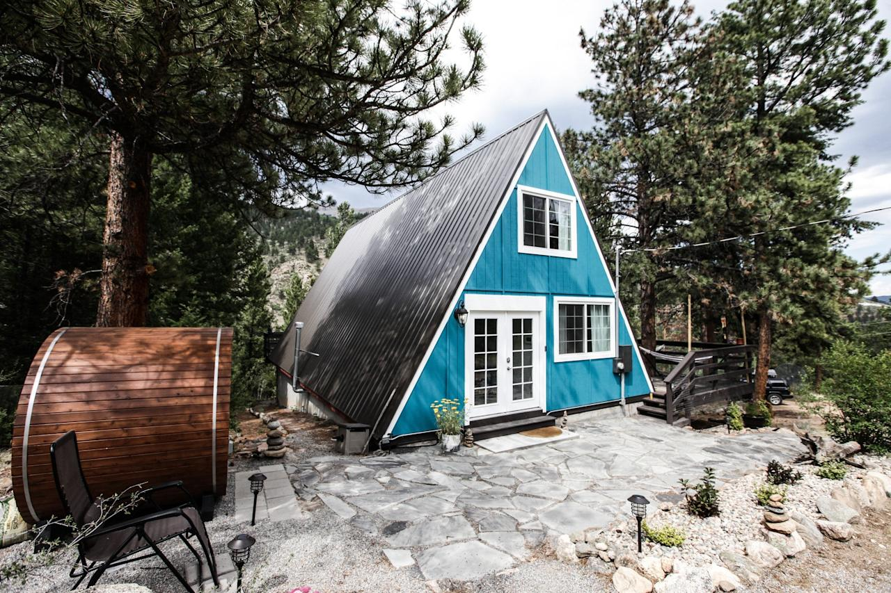 "<p>Ok, so the blue exterior and graffiti'd mural on the bottom side of the deck don't <em>scream</em> Scandinavia—but the Finnish steam sauna (left) and cozy grey interiors (allegedly <a href=""https://www.cntraveler.com/gallery/hygge-lagom-coorie-which-lifestyle-philosophy-is-best-for-you?mbid=synd_yahoo_rss"">hygge</a>-inspired) do. Located about an hour's drive into the Rockies from Denver, this A-frame has two bedrooms (one in the loft) and plenty of outdoor living space, including two decks and a porch area. There's also a large kitchen stocked with all of the basics. A stay here will definitely be of the digital detox variety, since the Wi-Fi isn't super strong and the home does not have a TV (there is an iPad for streaming that can serve as a hotspot).</p> <p><strong>Book Now:</strong> $130 per night, <a href=""https://airbnb.pvxt.net/N3BaK"" rel=""nofollow"">airbnb.com</a></p>"