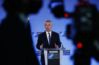 """FILE - In this April 13, 2021, file photo, NATO Secretary General Jens Stoltenberg speaks during a media conference at NATO headquarters in Brussels. U.S. President Joe Biden and his NATO counterparts bid a symbolic farewell to Afghanistan on Monday, June 14, in their last summit before America winds up its longest """"forever war"""" and the military pulls out for good. Stoltenberg says it's simply time to leave. (AP Photo/Francisco Seco, Pool, File)"""