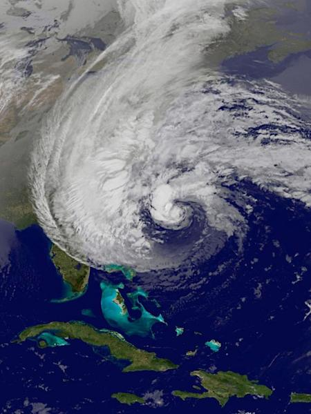 A view of Hurricane Sandy from GOES East satellite on Sunday, Oct. 27.