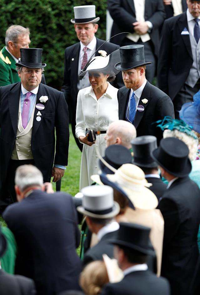 Horse Racing - Royal Ascot - Ascot Racecourse, Ascot, Britain - June 19, 2018 Britain's Prince Harry and Meghan, the Duchess of Sussex during Royal Ascot REUTERS/Peter Nicholls