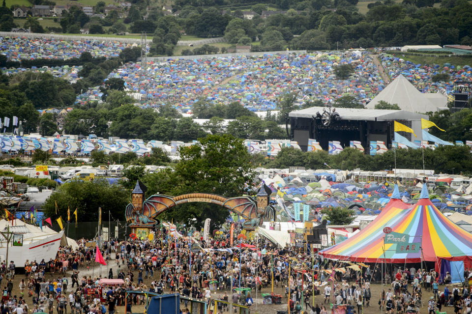Festival goers at the Glastonbury festival at Worthy Farm, in Somerset, England, Thursday, June 23, 2016. (Photo by Jonathan Short/Invision/AP)