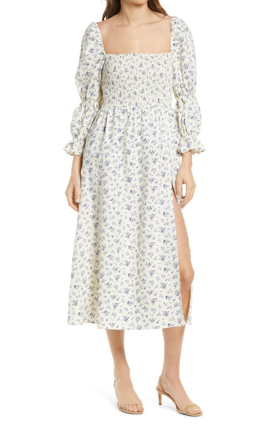 "<p><strong>Reformation</strong></p><p>nordstrom.com</p><p><strong>$278.00</strong></p><p><a href=""https://go.redirectingat.com?id=74968X1596630&url=https%3A%2F%2Fwww.nordstrom.com%2Fs%2Freformation-hyland-smocked-puff-sleeve-dress%2F5918395&sref=https%3A%2F%2Fwww.townandcountrymag.com%2Fstyle%2Ffashion-trends%2Fg35984730%2Fbest-smocked-dresses-women%2F"" rel=""nofollow noopener"" target=""_blank"" data-ylk=""slk:Shop Now"" class=""link rapid-noclick-resp"">Shop Now</a></p><p>Take your cottagecore obsession to the next level this spring with a floral smocked frock from Reformation. At first glance, this dress may look demure, but a side slit add just a little sex appeal. </p>"