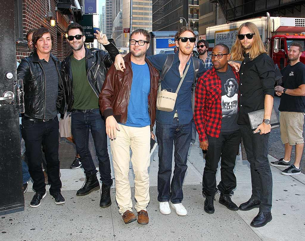 """Adam Levine and his Maroon 5 bandmates were all smiles as they headed into the Ed Sullivan Theater. The group just released a new album, <i>Hands All Over</i>. Jeffrey Ufberg/<a href=""""http://www.wireimage.com"""" target=""""new"""">WireImage.com</a> - September 21, 2010"""