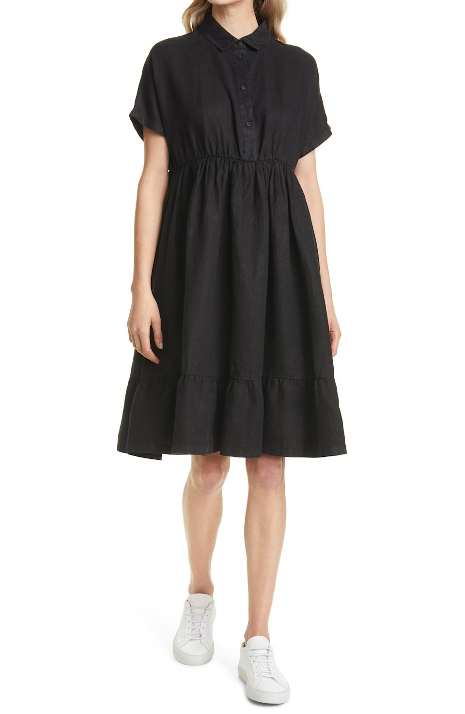 """<p><strong>MAX MARA LEISURE</strong></p><p>nordstrom.com</p><p><strong>$350.00</strong></p><p><a href=""""https://go.redirectingat.com?id=74968X1596630&url=https%3A%2F%2Fwww.nordstrom.com%2Fs%2Fmax-mara-leisure-ruffle-hem-linen-dress%2F5861725&sref=https%3A%2F%2Fwww.townandcountrymag.com%2Fstyle%2Fg36049039%2Fbest-linen-dresses-women%2F"""" rel=""""nofollow noopener"""" target=""""_blank"""" data-ylk=""""slk:Shop Now"""" class=""""link rapid-noclick-resp"""">Shop Now</a></p><p>Don't be fooled by the dark color. This swingy, ruffled hem shirtdress is as cool as it comes—and looks amazing with <a href=""""https://www.townandcountrymag.com/style/fashion-trends/g32867887/best-slip-on-sneakers/"""" rel=""""nofollow noopener"""" target=""""_blank"""" data-ylk=""""slk:sneakers"""" class=""""link rapid-noclick-resp"""">sneakers</a>. </p>"""