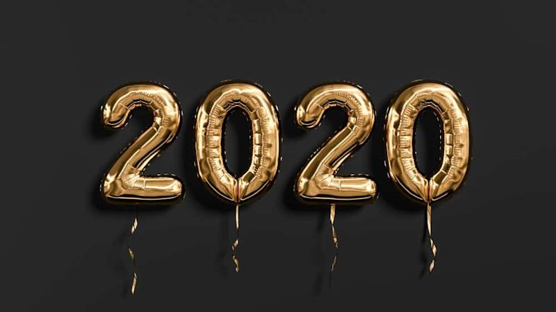 New year 2020 celebration. Gold foil balloons