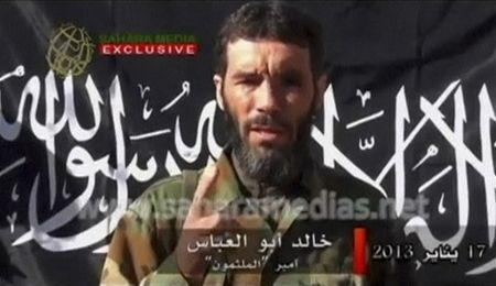 Undated still image from a video showing Mokhtar Belmokhtar speaking at an unknown location
