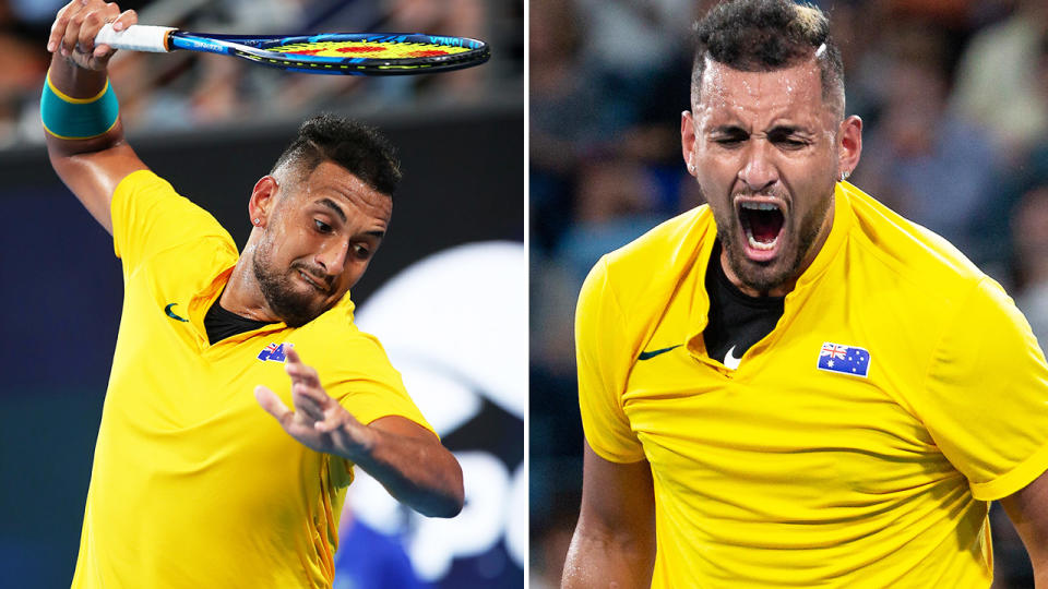 Nick Kyrgios, pictured here blowing up at the ATP Cup.