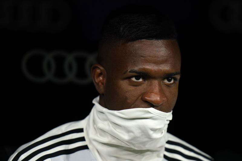 MADRID, SPAIN - NOVEMBER 02: Vinicius Jr of Real Madrid looks on prior the game during the Liga match between Real Madrid CF and Real Betis Balompie at Estadio Santiago Bernabeu on November 02, 2019 in Madrid, Spain. (Photo by Quality Sport Images/Getty Images)