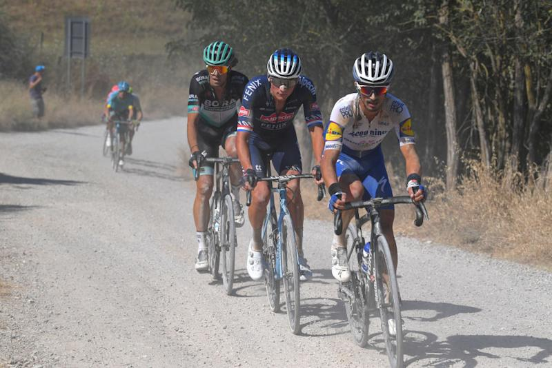 SIENA ITALY AUGUST 01 Julian Alaphilippe of France and Team Deceuninck QuickStep Mathieu Van der Poel of The Netherlands and Team AlpecinFenix Daniel Oss of Italy and Team BoraHansgrohe during the Eroica 14th Strade Bianche 2020 Men a 184km race from Siena to SienaPiazza del Campo StradeBianche on August 01 2020 in Siena Italy Photo by Tim de WaeleGetty Images