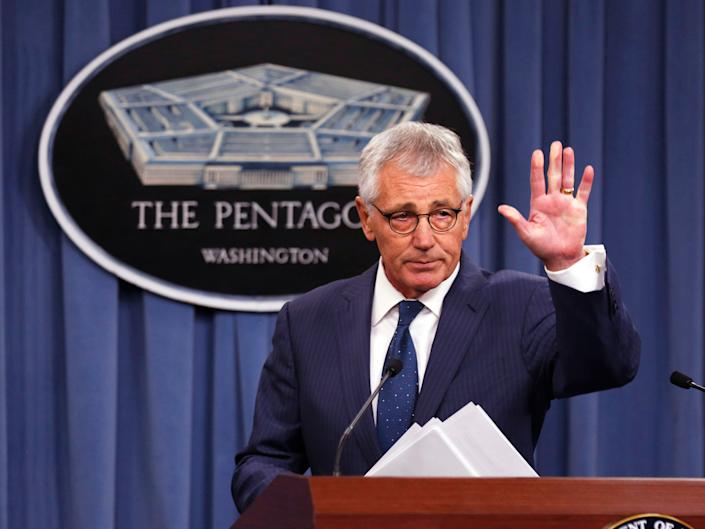 """Former Secretary of Defense Chuck Hagel, pictured in January 2015, called President Donald Trump """"an embarrassment""""in a recent interview. (Photo: Larry Downing/Reuters)"""