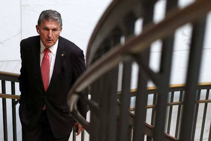 U.S. Sen. Joe Manchin (D-WV) leaves a closed hearing of Senate Armed Services Committee September 14, 2021 on Capitol Hill in Washington, DC. (Alex Wong/Getty Images)