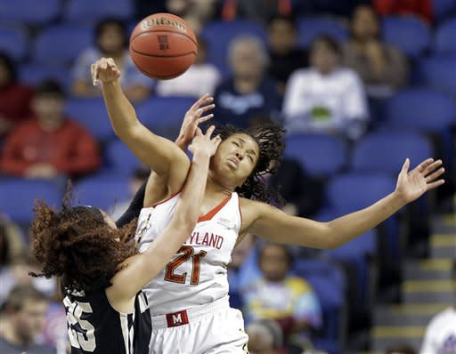 Maryland's Tianna Hawkins (21) and Wake Forest's Dearica Hamby (25) collide during the first half of an NCAA college basketball game at the Atlantic Coast Conference tournament in Greensboro, N.C., Friday, March 8, 2013. (AP Photo/Chuck Burton)