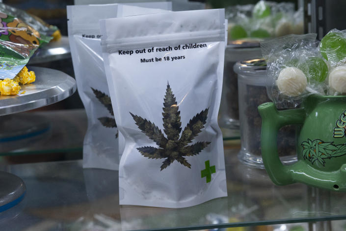 Marijuana products are displayed at the Weed World store on March 31, 2021, in New York. - New York Governor Andrew Cuomo signed legislation legalizing recreational marijuana on March 31. 2021, with a large chunk of tax revenues from sales set to go to minority communities. (Kena Betancur/AFP via Getty Images)