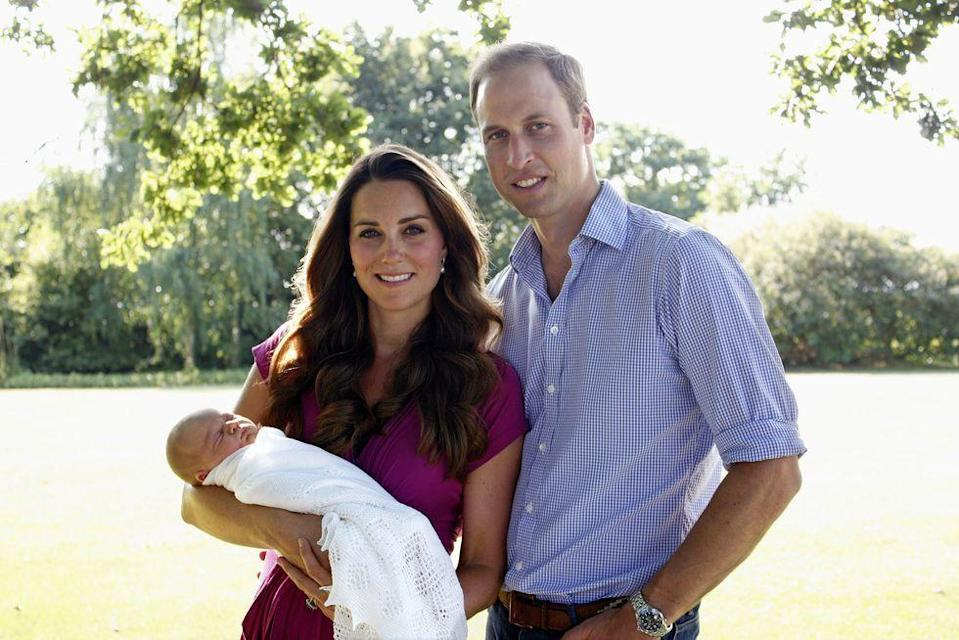 <p>The Duke and Duchess of Cambridge welcome their first child, Prince George, on July 22, 2013. The new parents pose with their firstborn at the Middletons' family home in Bucklebury, Berkshire.</p>