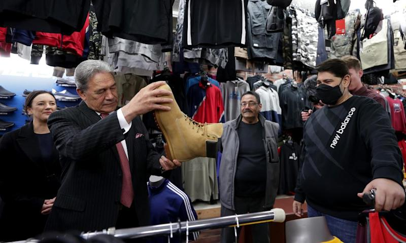 New Zealand First leader Winston Peters on the campaign trail in Otahuhu on Wednesday. Some may be considering the order of the boot given the party's dire standing in the polls.
