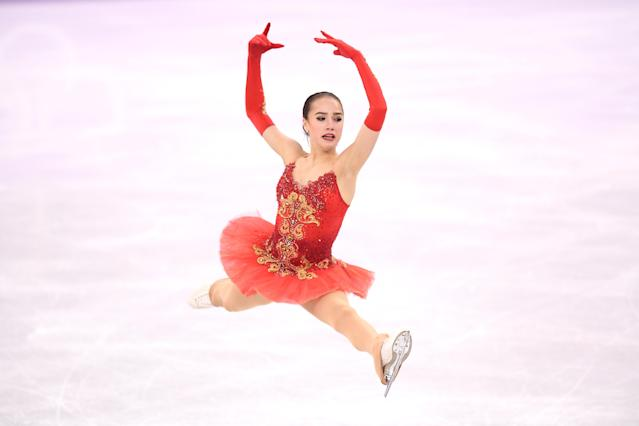 <p>Alina Zagitova of Olympic Athlete from Russia competes during the Ladies Single Skating Free Skating on day fourteen of the PyeongChang 2018 Winter Olympic Games at Gangneung Ice Arena on February 23, 2018 in Gangneung, South Korea. (Photo by Harry How/Getty Images) </p>