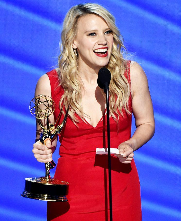 Kate McKinnon accepts the award for Outstanding Supporting Actress in a Comedy Series for Saturday Night Live at the 68th Emmy Awards. (Photo by Vince Bucci/Invision for the Television Academy/AP Images)