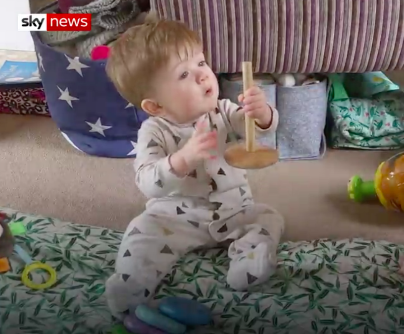 Nine-month-old Cassius Coates has been diagnosed with coronavirus. (Sky News)