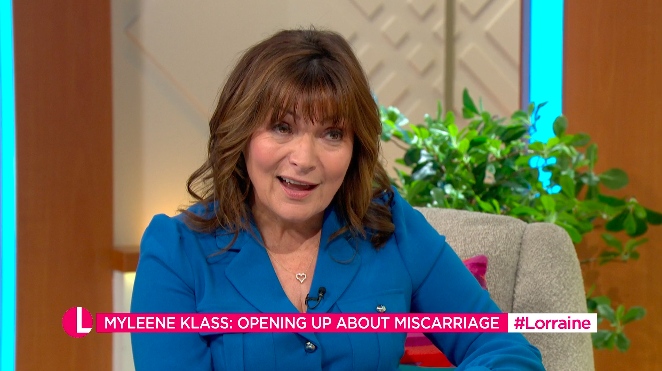 Lorraine Kelly spoke to Myleene Klass about the grief of losing a pregnancy over 20 years ago. (ITV)