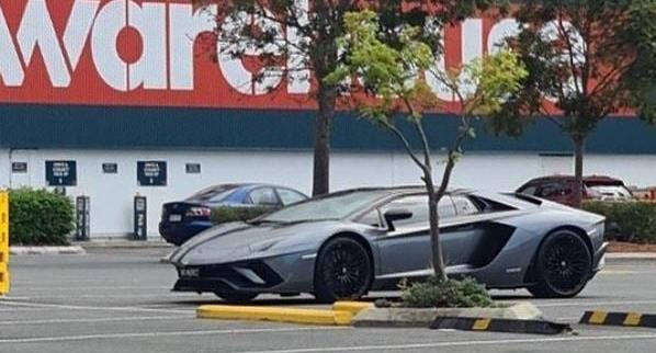 Lamborghini Aventador S Roadster pictured outside a Bunnings Warehouse.