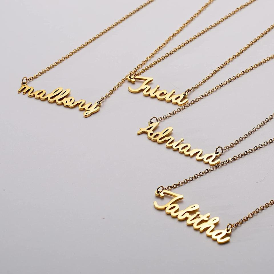 <p>The <span>Awegift Personalized Name Necklace</span> ($20) is an 18-karat-gold-plated name necklace that's perfect for the one who loves to accessorize. It makes a statement but is minimalist enough to be layered with other necklaces. </p>