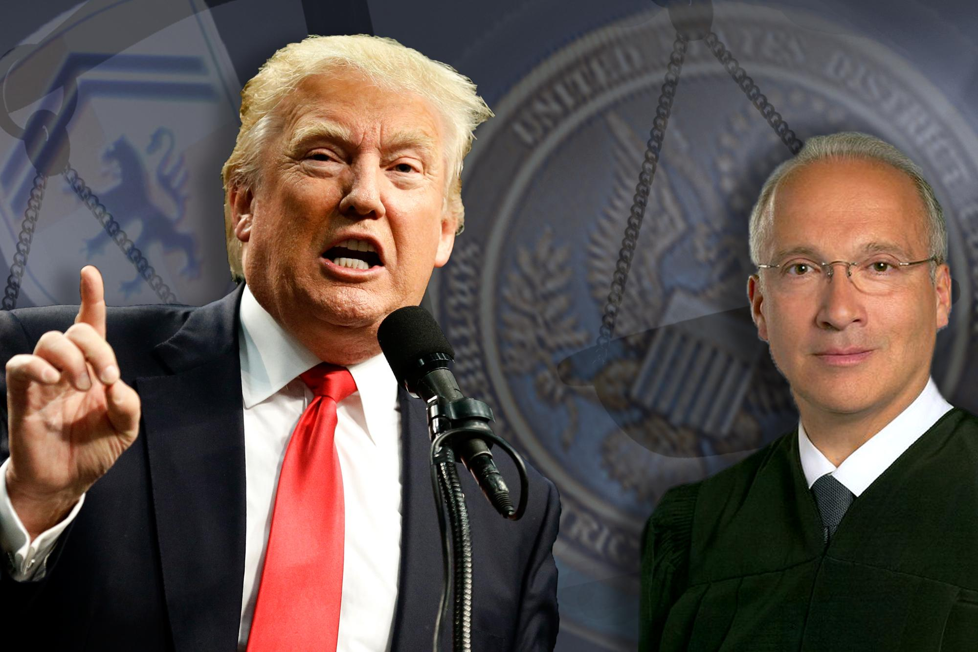 Donald Trump and Judge Gonzalo Curiel (Photo illustration: Yahoo News, photos: AP, Thos. Robinson/Getty Images, U.S. District Court for the Southern District of California via Wikipedia, San Diego Superior Court via San Diego Union Tribune)